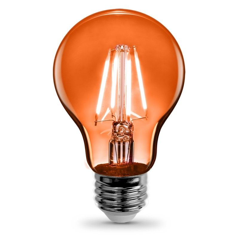 Feit Electric Vintage LED Filament Light Bulb A19 Transparent Orange Decorative Lights Up Orange A19/TO/LED