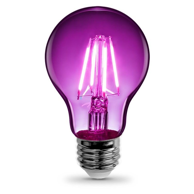 Feit Electric Vintage LED Filament Light Bulb A19 Transparent Purple Decorative Lights Up Purple A19/TP/LED