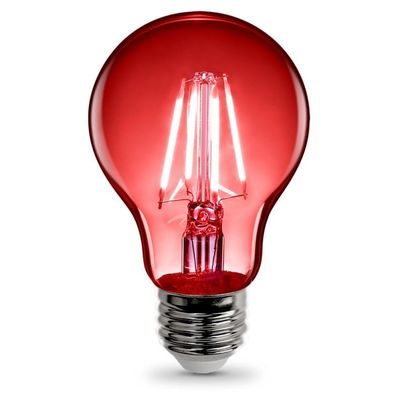 Feit Electric Vintage LED Filament Light Bulb A19 Transparent Red Decorative Lights Up Red A19/TR/LED