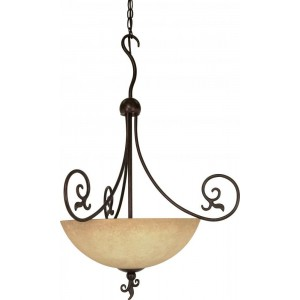Nuvo 60/050 Three Light Pendant With Tuscan Suede Glass, Old Bronze