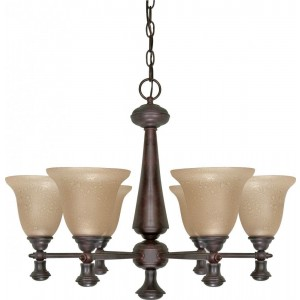 Nuvo 60-100 6 Light Chandelier with Amber Water Glass