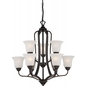 Nuvo Nuvo60/5699 Elizabeth 9-Light 2-Tier Chandelier with Frosted Glass