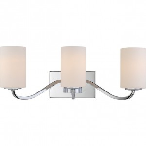 Nuvo 60/5803 3-Light Vanity Fixture with White Glass Shade in Polished Nickel
