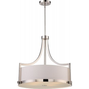 Nuvo Lighting 60/5881 4 Light Pendant w/ White Fabric Shade Meadow Collection