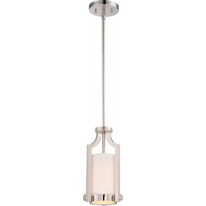 Nuvo Lighting 60/5884 1 Light Mini Pendant w/ White Fabric Shade Meadow Collection