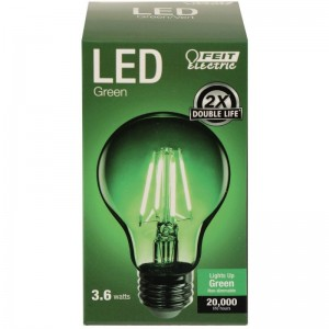 Feit Electric Vintage LED Filament Light Bulb A19 Transparent Green Decorative Lights Up Green A19/TG/LED