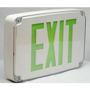 Orbit Wet Location LED Exit Sign Green Lettering White Housing Single Face