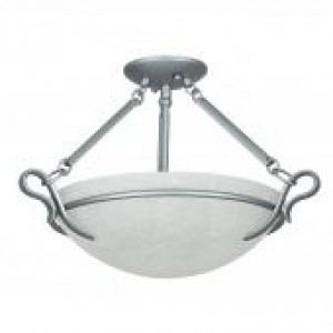 "19-1/4"" 3 Light Semi Flush - Satin Nickel"