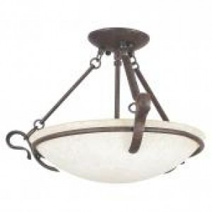 "19-1/4"" 3 Light Semi Flush - Rubbed Bronze"