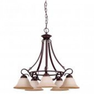 "25"" 5 Light Down Chandelier - Rubbed Bronze"