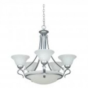 "27"" 8 Light Venice Chandelier with Bowl - Satin Nickel"