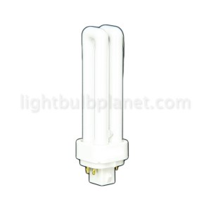 13W PL Compact Fluorescent 4 pin 2 Tube 3500K Soft White G24q-1 Base