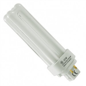 13W GE 4-pin Double Compact Fluorescent 3000K Warm White G24q-1 Base