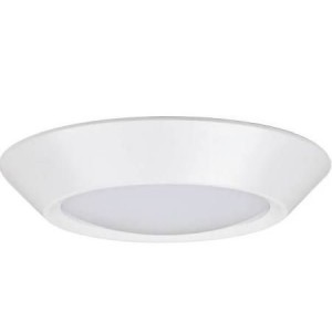 "NaturaLED 7055: 17W Flush Mount - FMC Compact (E26 adapter included), 1,100 lumens, 3000K, 7"", 120W equivalent, Flood Beam Spread, White, Dimmable, Wet, ES, 50,000 Hours."