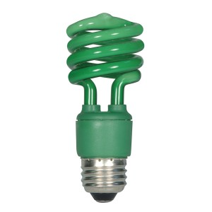 Satco 13W T2 CFL Spiral Party Bulb Green S7272