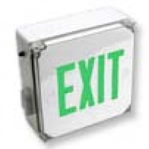 Wet Location LED Exit With Green Lettering