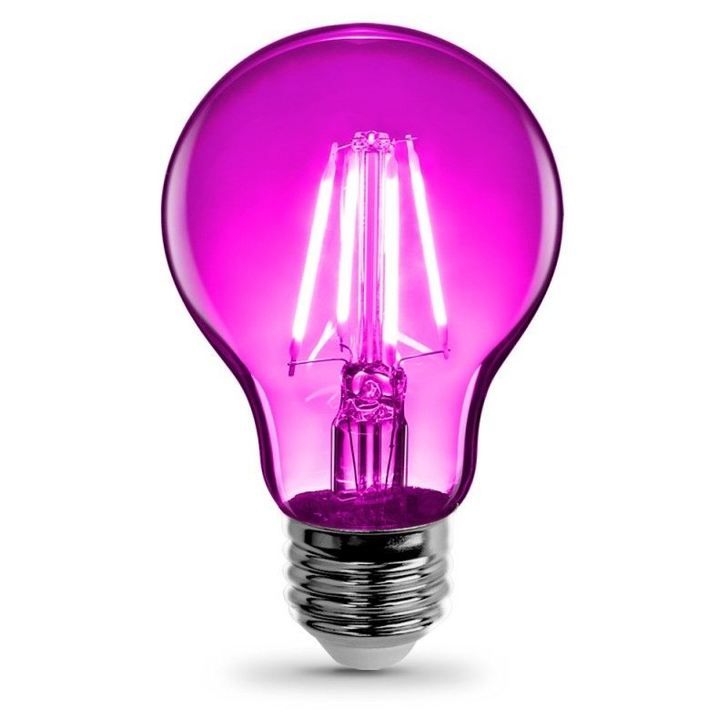 Feit Electric Vintage LED Filament Light Bulb A19 Transparent Pink Decorative Lights Up Pink  A19/TPK/LED