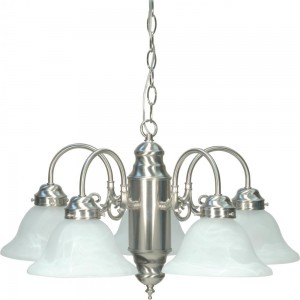 Nuvo 60/1290 Five Light Chandelier with Alabaster Glass, Brushed Nickel