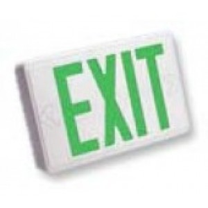 LED Emergency Exit & Rechargeable Battery With Green Lettering SEEX U2GW-EM