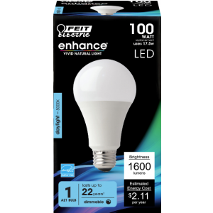 Feit 17.5W A19 Dimmable LED,100W Equivalent, 5000K, 1100 LM, 90+ CRI, E26, California Compliant Light Bulb; OM100DM/950CA