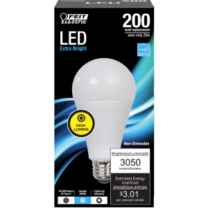 Feit 25W A19 Non-Dimmable LED, 200W Equivalent, 5000K, 3050LM, 80 CRI, E26; OM200/850/LED