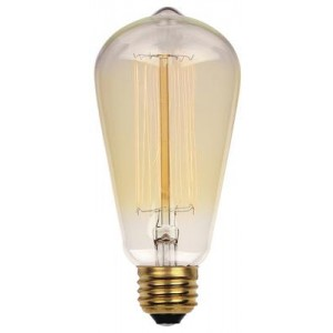 60W Westinghouse ST20 Vintage Incandescent Light Bulb Squirrel Cage Filament Clear Finish 120V 0413200