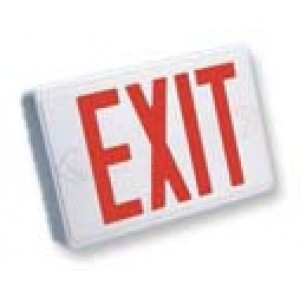 LED Emergency Exit & Rechargeable Battery With Red Lettering SEEX U2RW-EM